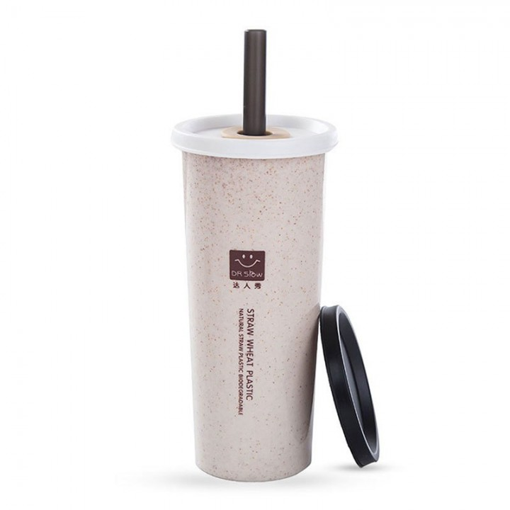 straw Hot Water Cup 470ml LeakProof Healthy Drinking Cup Office Coffee Bottle with Straw for Home Beige 401-500ml