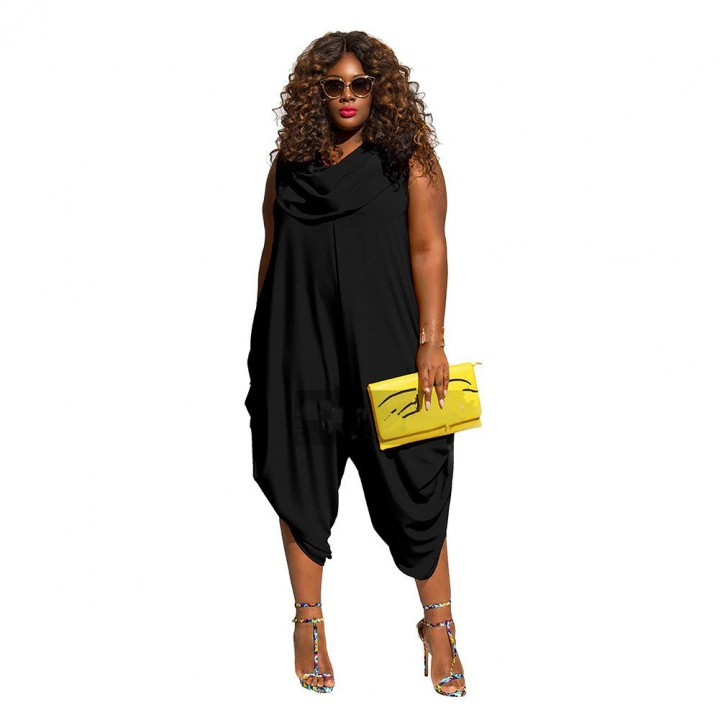 Summer Fashion Women Casual Sleeveless Pleated Rompers Vintage Cowl Collar Plus  Size Jumpsuits d7b326ce6722
