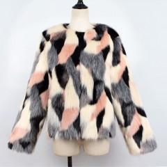 2018 NEW Colorful Boho Faux Fur Coat Plus Size Women Pink Fur Coats Bohemian Autumn Winter Furry