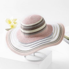womens colorful striped mesh big brim straw hat Summer beach sun shade women straw hat