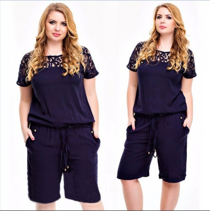 fca3a769cf6 Lace Patchwork Jumpsuit Rompers Plus Size Knee Length Solid Short Sleeve  Playsuit Elegant Casual