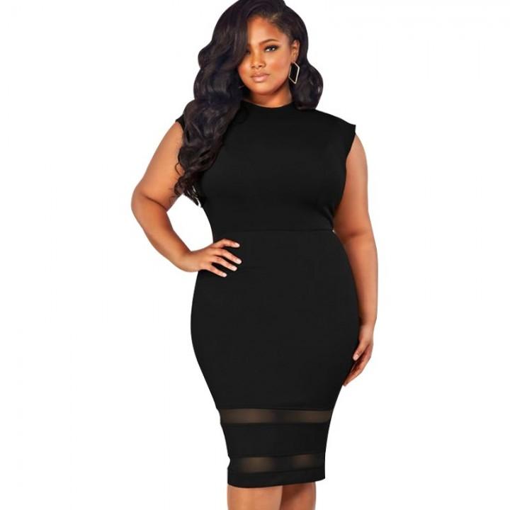 bb960240859 Plus Size Bodycon Dress Elegant Ladies OL Office Workwear Mesh Splice  O-Neck High Waist