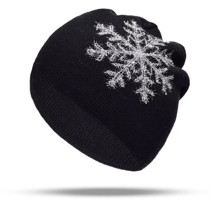 255816c2 ladies hat knit wool hat autumn and winter leisure warm hat hot beautiful  Snowflake Embroidered H