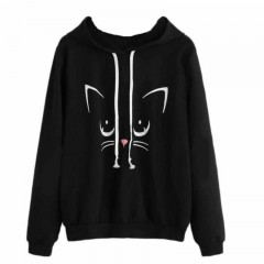 Cat Print Long Sleeve Hoodie Women Casual Hooded Pullover Sweatshirts Pocket Harajuku Hoodies Fem