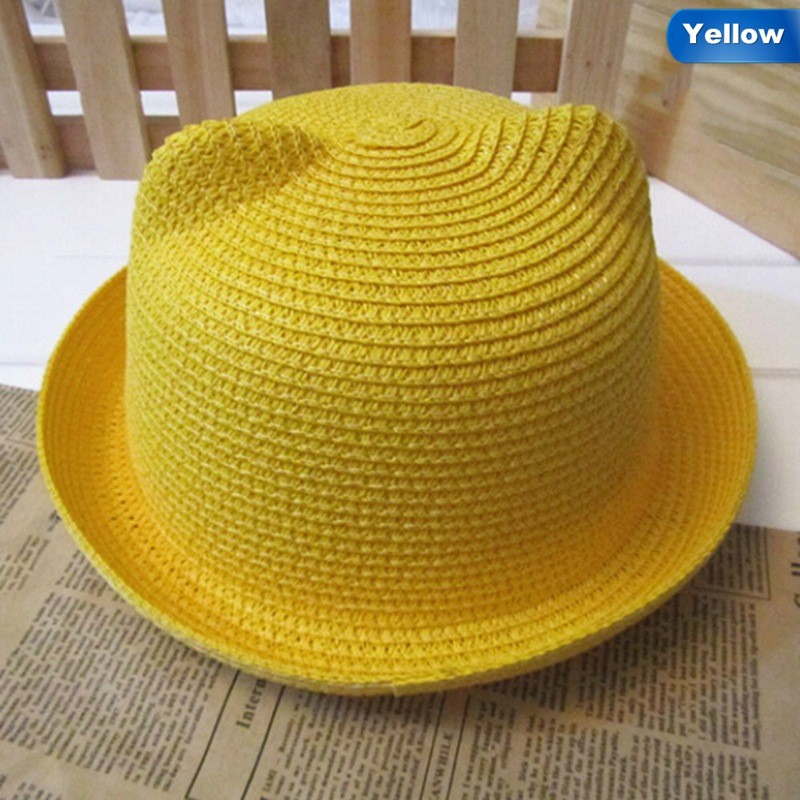 0be3534e25ac3 Girls Boys Straw Hats Summer Baby Sun Hat Lovely Children Solid Floppy Cat  Ears Decor Cap  Product No  2862721. Item specifics  Seller SKU NVoJDMcZWPo  ...