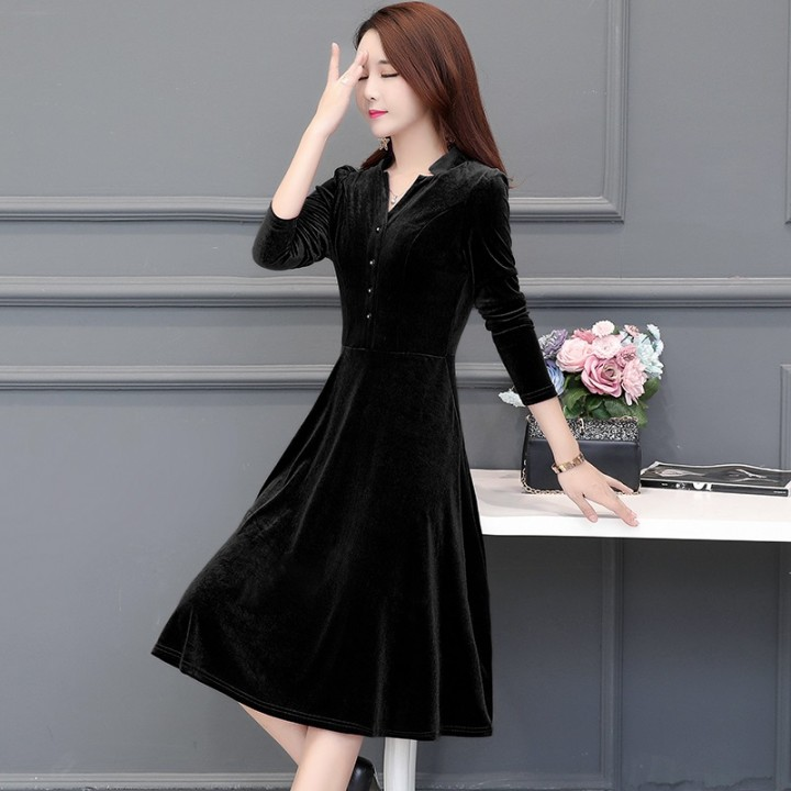 7d137c110a pleuche plus size vintage solid clothes women casual loose midi autumn  winter dress vestidos femi
