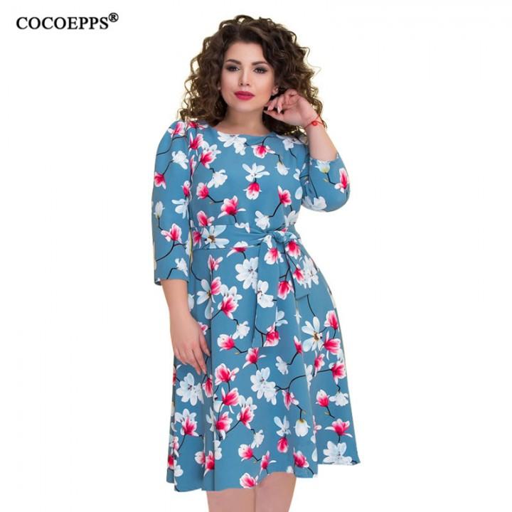 67d8a18d7870 Large Big Size Floral Print Autumn Winter Casual Dresses Flower party women  clothing dress Plus S