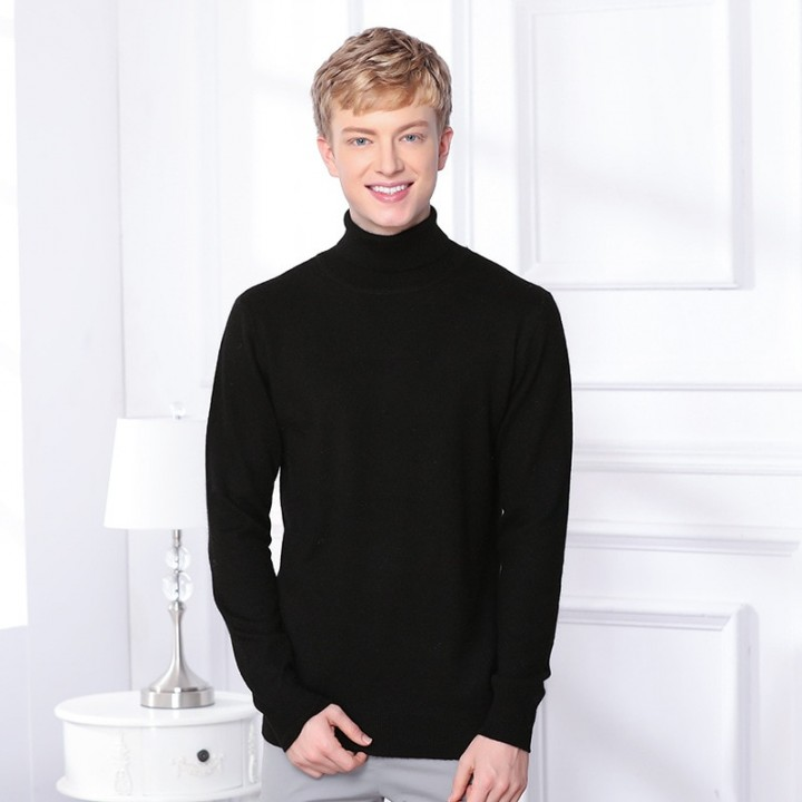 f12eb37c1aa5 Thick Warm Cashmere Sweater Men Turtleneck Mens Sweaters Slim Pullover Men  Classic Wool Knitwear