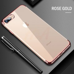 Luxury Ultra-Thin Plating Phone Case For iPhone 7 8 6 6s Plus Transparent TPU Protective Cover Fo