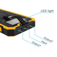 Sale Waterproof 20000mah Portable Solar Charger External Battery LED Lighting Outdoor Charging Po