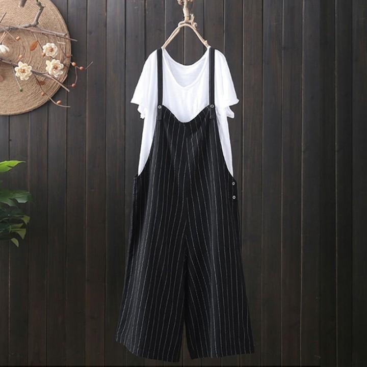 a41bc7071dd3 ZANZEA Casual Stripe Jumpsuits Women Strappy Sleeveless Loose Cotton Linen  Wide Leg Overalls Summ