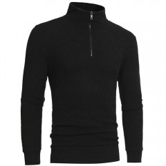 Fashion Zipper Casual High-collar Mens Sweaters Tops 2018 winter male boy warmer Cashmere Sweater
