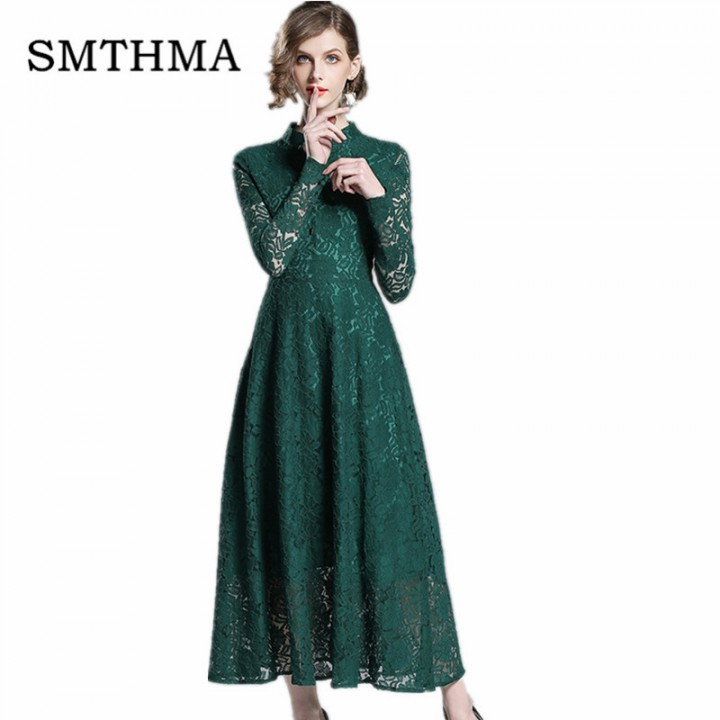 5b780b2fa888 SMTHMA Runway Vintage Lace Dress Green Women 2018 Autumn Long Sleeve  Embroidery Hollow Out Embro