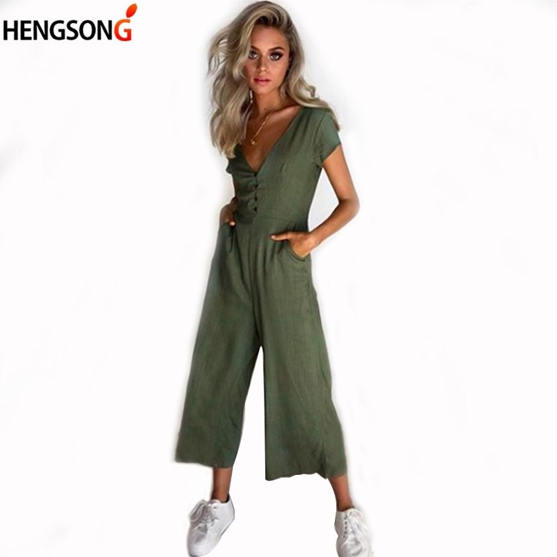 f9b92816e5c Women Wide Leg Jumpsuit Rompers Sexy Deep V Neck Button Short Sleeve Summer  Fashion Soild Casual  Product No  2911952. Item specifics  Seller ...