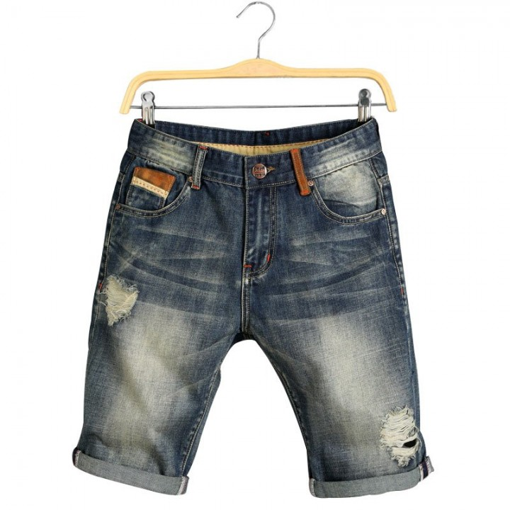 9811160e0497ca Jeans Knee Length Holes Dark Blue Shorts Male Clothes 2018 New Summer Casual  Mens Jogger Ripped