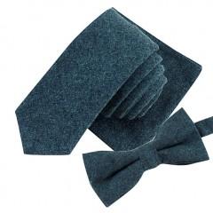 Mens Neck Tie Set Necktie Sets Fashion Solid Color Soft Cotton 5.5cm Tie+Bowtie+Handkerchief blus