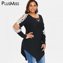 Plus Size Boho Floral Lace Crochet Long Blouse Women 5XL Cold Shoulder Lace Up Tops Big Size XXXX