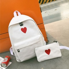 Backpack Mochila School Bags For Girls Canvas Printed Heart High Quality Minimalist Trend Teenage