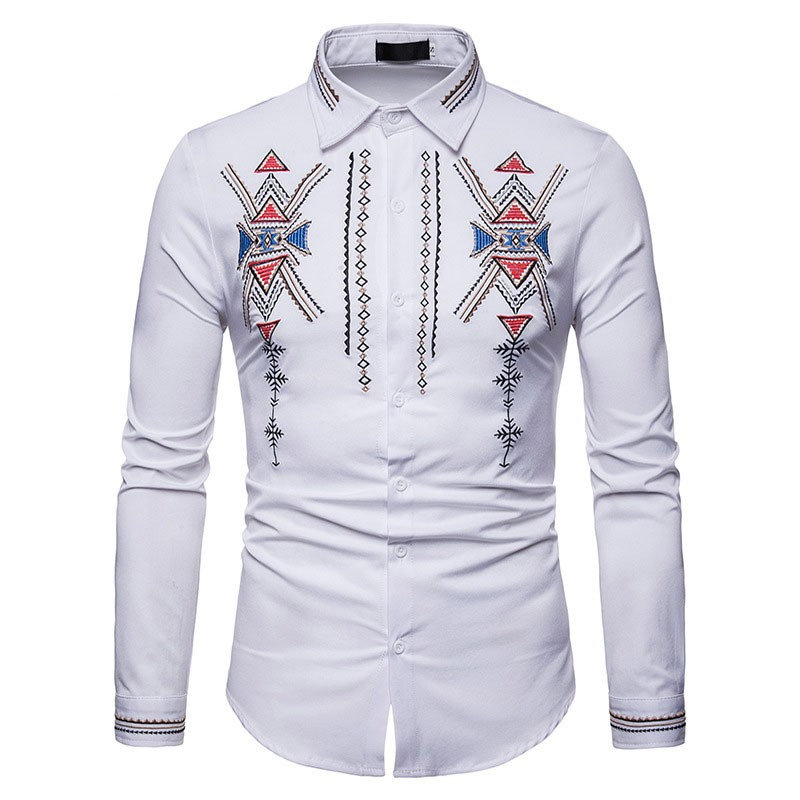 2351f40e7b Dashiki Shirt Men 2018 Fashion Ethnic Totem Embroidery Shirt Mens Slim Fit  Long Sleeve Casual Dre