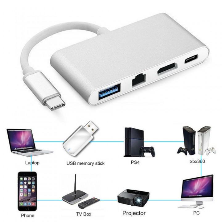 to HDMI 4K+Gigabit Ethernet (RJ45 Port)+USB 3.0 USB 3.1 Type C Adapter HDMI Video Port for Delive