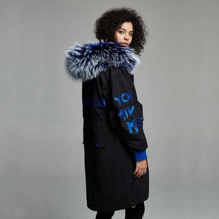 d83ba2c2b23 Quality Winter Jacket Women 2018 Real Raccoon Fur Long Down Parka Loose Coat  Thick Warm Female