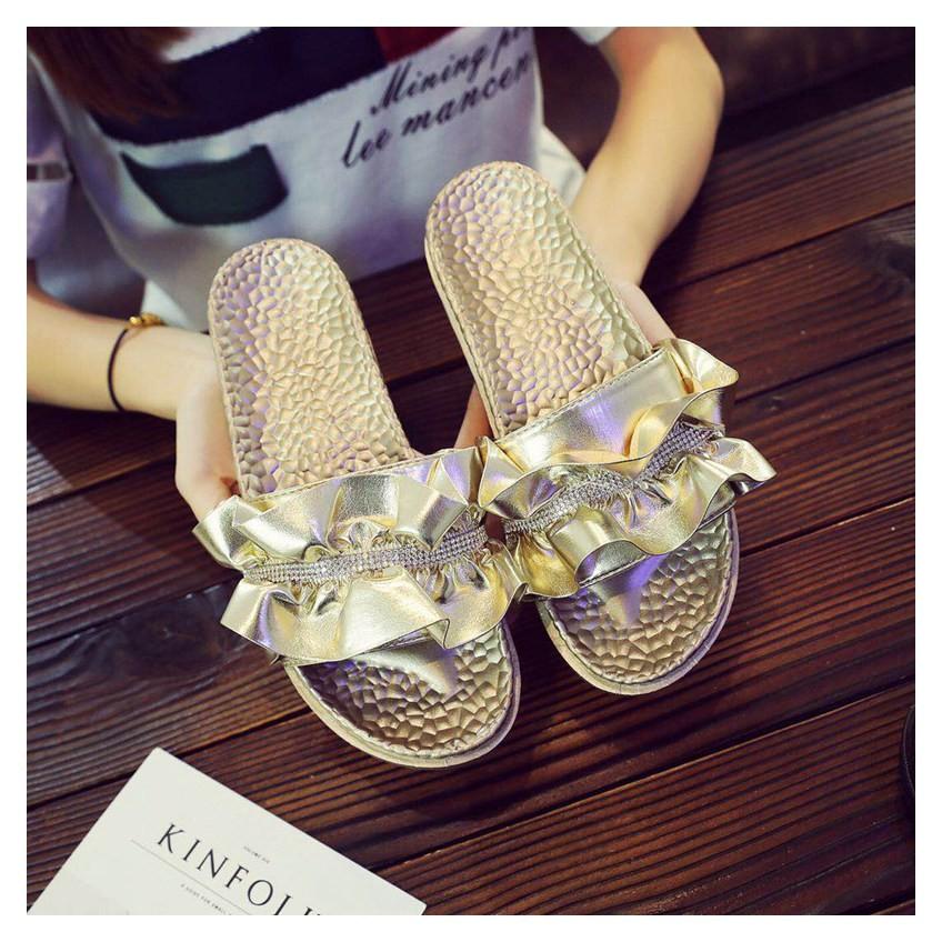 86006143a ... Slides Platform Summer Sandals Fashion Ruffles Crystal Slipper Women  Flat  Product No  2948439. Item specifics  Seller SKU cvWwtERtZmQ  Brand