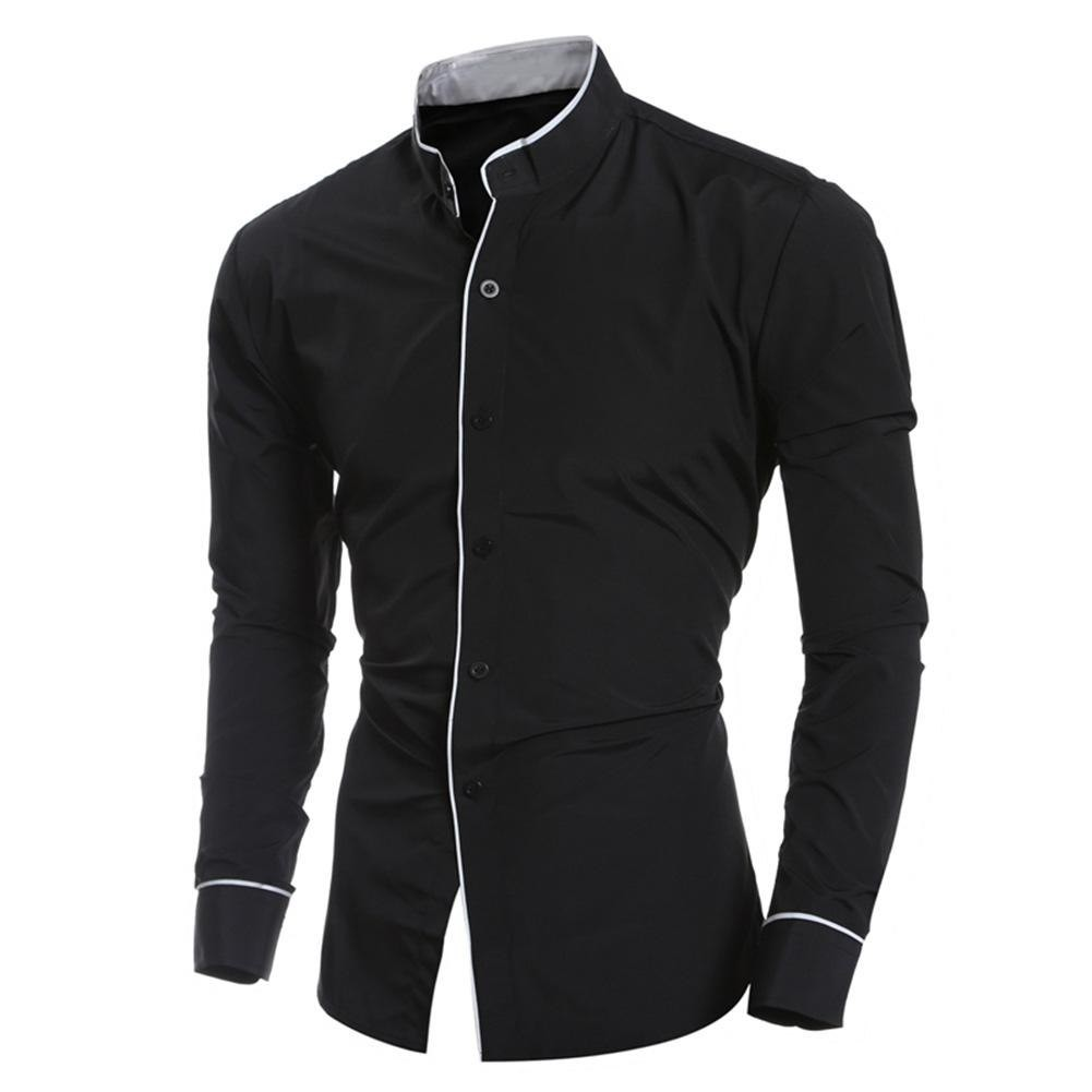 6ee0259df47 2018 Spring Autumn Men Solid Color Fashion Casual Stand Collar Embroider  Edge Shirt Breathable Sl  Product No  2948690. Item specifics  Seller ...