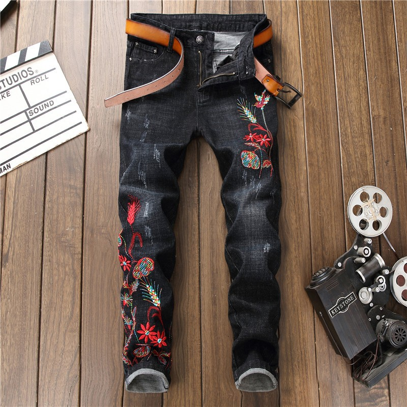 d0a654d8db7e9 New Men Pencil Slim Jeans Mid Elasticity Skinny Ankle-Length Pants ...