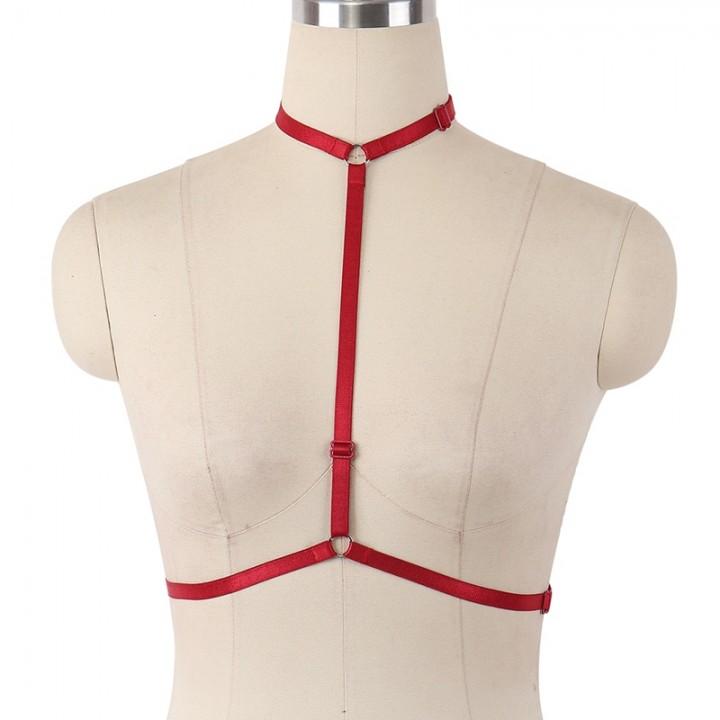 e1614e67f9 Halter Bra Harness Cage Belts Elastic Straps Women Bondage Harness Lingerie  Goth Punk Costume