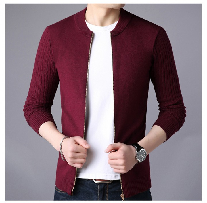 35c794f70106b5 Cardigan Sweater Men Winter Round Neck Knitted Jacket Sweatercoat Slim Fit  Casual Sweters Coats B