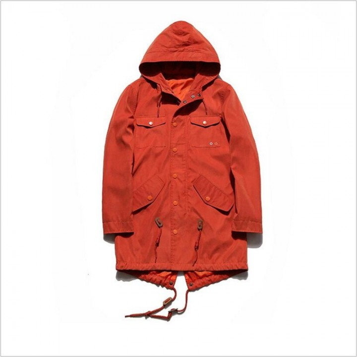 31295894d324e Men Trench Fashion Loose Hooded Windbreaker Male Autumn New Zipper Solid  Color Bomber Jacket Men