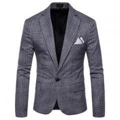 Men suit Plaid blazer  jackets coat fashion casual slim fit suit gentlemens Suits Wedding Ceremon