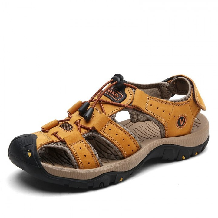 Cow Leather Men Sandals Summer Shoes Casual Outdoor Beach Sandals Soft Sole Fishermen Shoes Sanda