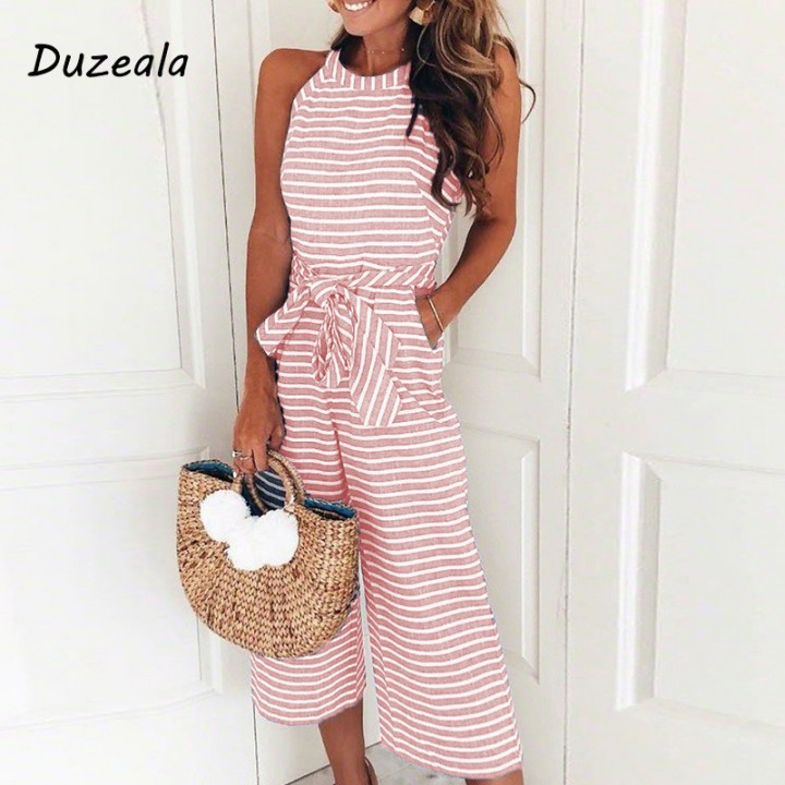 ba5f6af78929 Sexy Jumpsuits Women Sleeveless Striped Jumpsuit Loose Trousers Wide Leg Pants  Rompers Holiday Be
