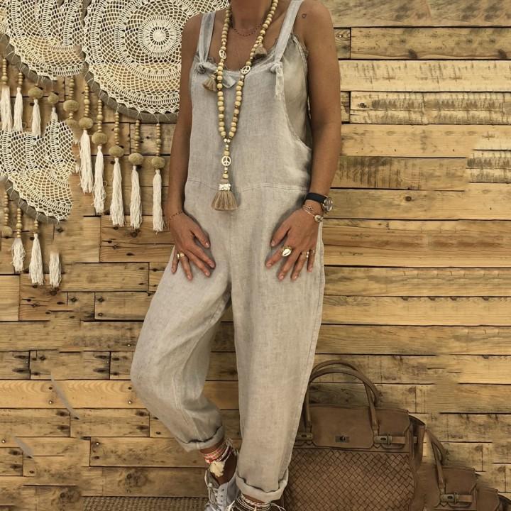 91d6c82928d6 Strap Loose Jumpsuit Dungaree Cotton Linen Overalls Women Suspender  Trousers Bib Pants Prepy Styl