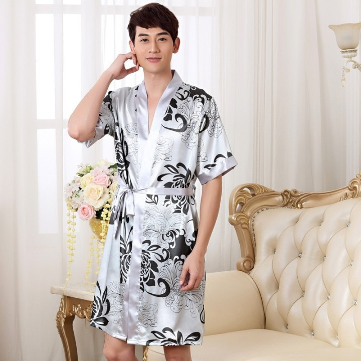 4f1d6347b8 Nightgown Sleepshirts Men Kimono Robe Faux Silk Bath Gown Sleepwear Lounge  Casual Silky Nightwear
