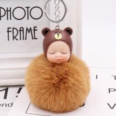 Sleeping Baby Doll Keychain Rabbit Ball Fur Pompom Key Chains Women Car Bag Accessories Key Holde