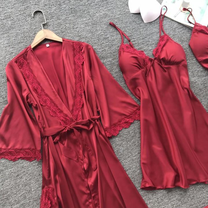 686d4f8a28 Robe Femme Sexy Lace Sleepwear Night Dress Robes Women Nightwear Robe Set  Nighty Home Dress Sleep