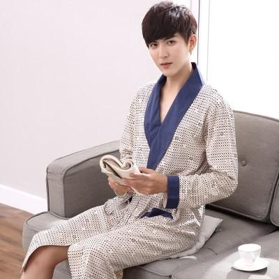 Robes Men Spring Long sleeve Cotton Nightwear Pyjamas Elderly Men sleep  sleepwear Robe Plus size 88e2a9f5e15a