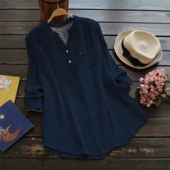 Autumn Elegant Women V Neck Long Sleeve Solid Casual Blouses Feminina Blusas Loose Cotton Linen W