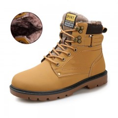 Size 39-46 Mens Tooling Boots Warm Winter Casual Rubber Martin Snow Boots Leather High Top Ankle