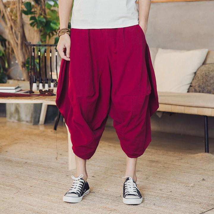 8c7007af0a9 Linen Loose Harem Pants Men Plus Size Mens Wide Leg Hip-hop Baggy Hippie  Pants