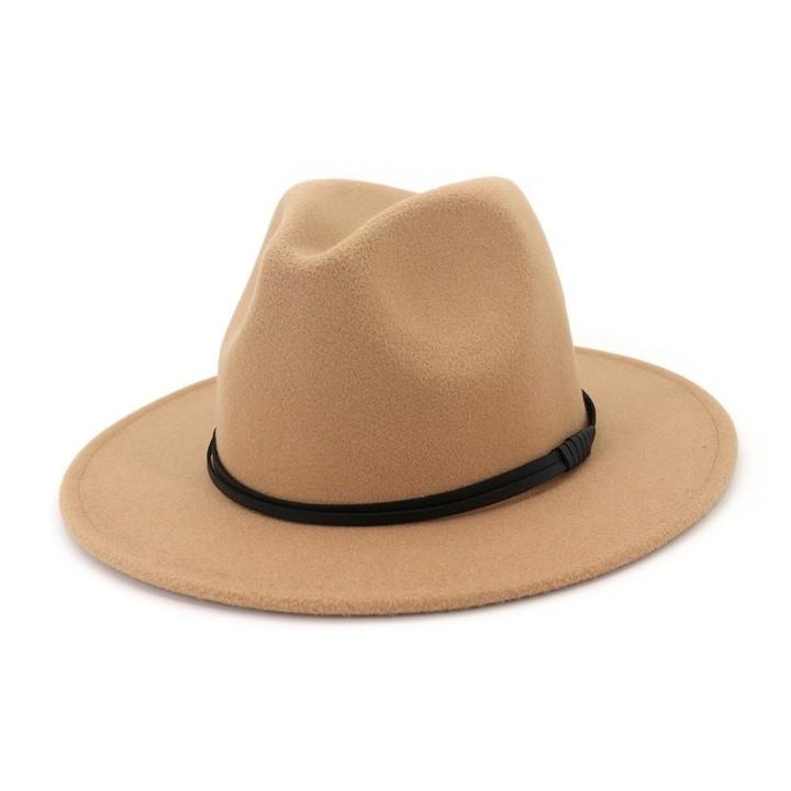 Autumn Winter Wool Men Black Red Fedora Hat Gentleman Wide Brim Top Jazz  Elegant Women Hats 6f5b250f73c3