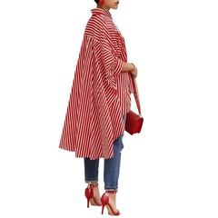 Office Clothing Striped Print Casual Big Skirt Shirt Ladies Irregular Tops Plus Size Loose Bat Sl