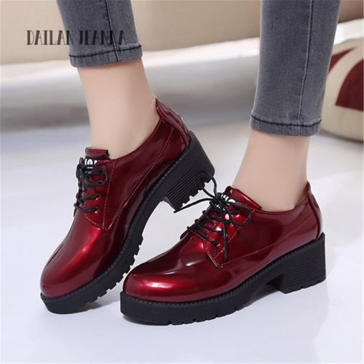 77356f274b4 style British shoes spring and autumn new fashion low heels thick and round  head tether womens