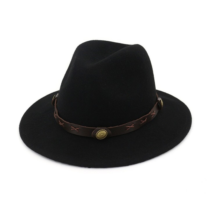 0b48cdd65e5 Wool Felt Cowboy Hat Mens Womens Fedora Hat with Leather Decoration Panama Hat  Jazz Top Hat