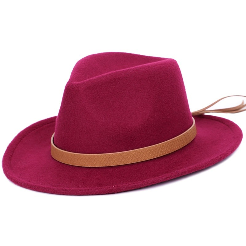 d43f0115288 mens faux wool fedora solid color fashion warm autumn and winter ...