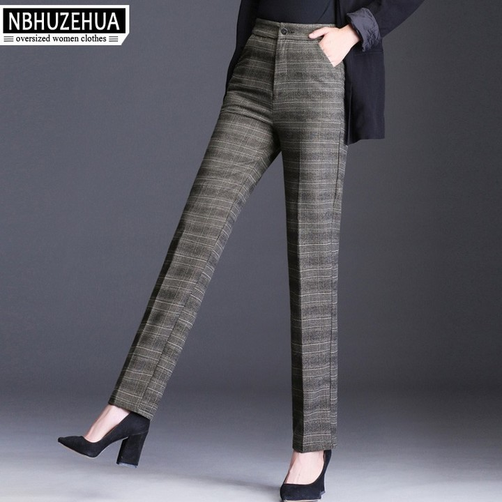 F50 Women Wool Pant Female 4XL High Waist Woolen Office Plaid Pants Loose  Straight Vintage Plus d0c587f1cddb
