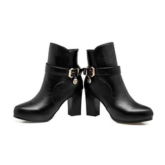 2018 new arrival women brand boots round toe with buckle ankle boots solid zip 8.5cm high heels b