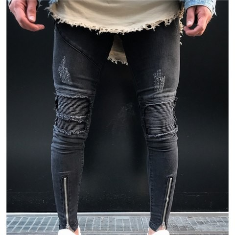 3fb3fb14f44 Ripped holes jeans Zip skinny 2018 New biker jeans white jeans with Pleated  patchwork slim fit hi: Product No: 3068844. Item specifics: Seller ...